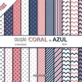 Papel digital coral e azul