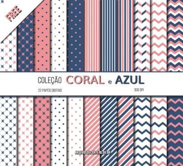 Papel digital coral e azul