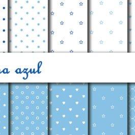 Papel digital Corujinha azul