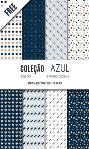 Kit de papel digital Azul