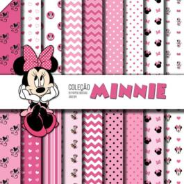 Kit de papel digital Minnie rosa free