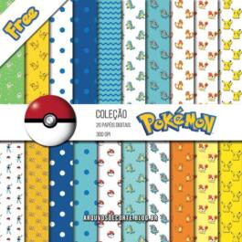 Kit de papel digital Pokemon grátis