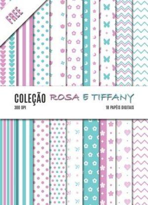 kit de papel digital rosa e tiffany