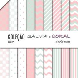 Kit de papel digital Sálvia e Coral