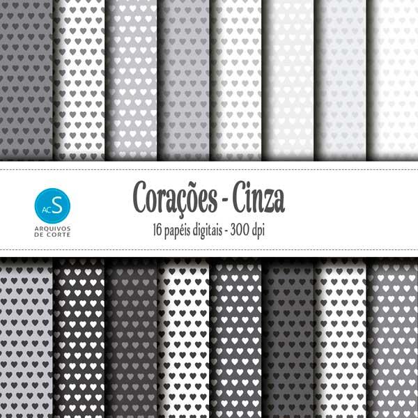 Mega kit de papéis digitais de Corações 3