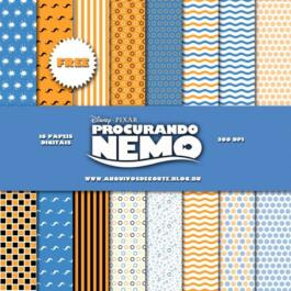 Kit de papel digital Procurando Nemo