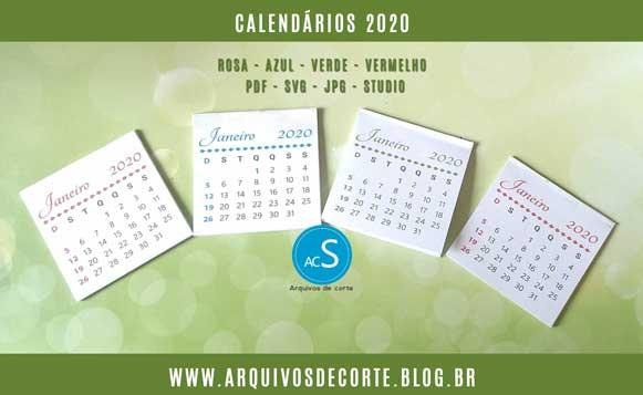 Calendários 2020 para imprimir