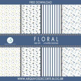 Papel digital Floral Azul