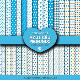 Papel digital Corações Azul Céu