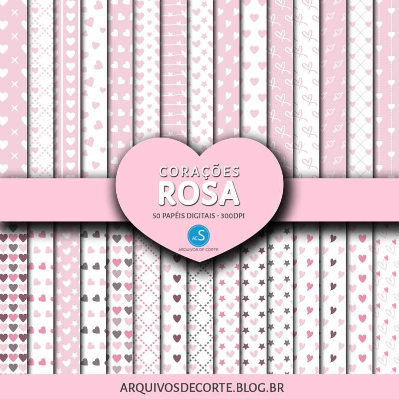 Papel digital Corações Rosa