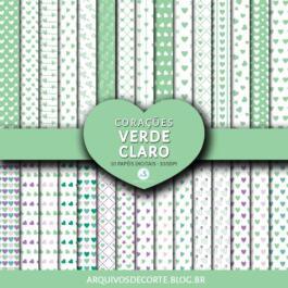 Papel digital Corações Verde