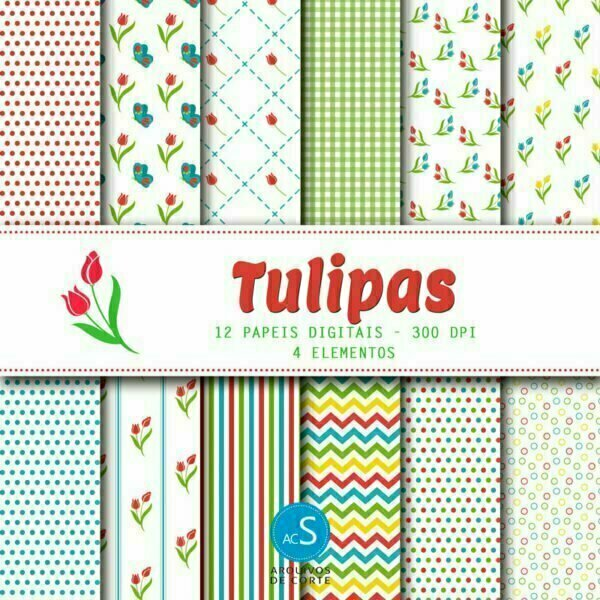 Papel digital Tulipas